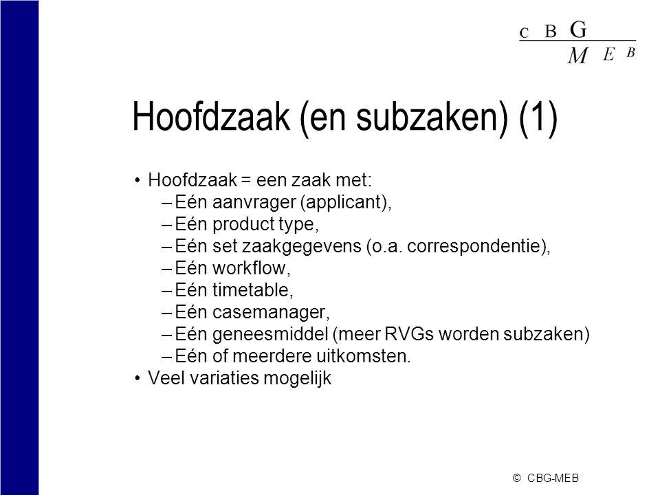 © CBG-MEB Hoofdzaak (en subzaken) (1) Hoofdzaak = een zaak met: –Eén aanvrager (applicant), –Eén product type, –Eén set zaakgegevens (o.a.