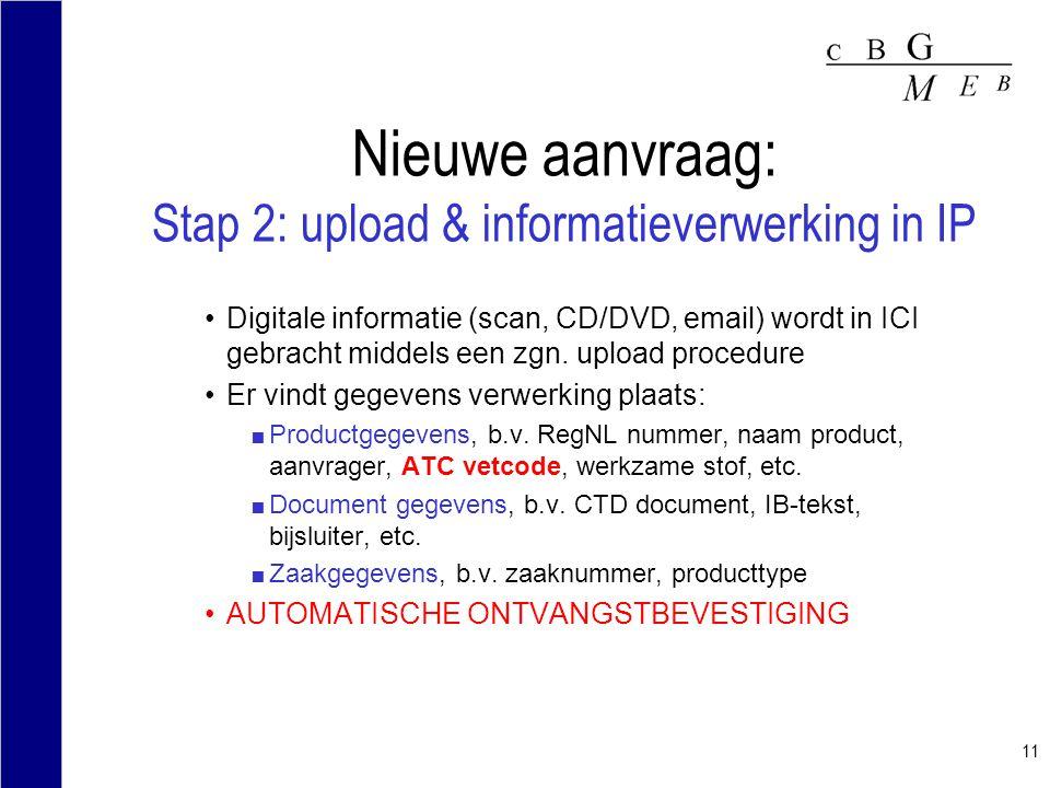 11 Nieuwe aanvraag: Stap 2: upload & informatieverwerking in IP Digitale informatie (scan, CD/DVD, email) wordt in ICI gebracht middels een zgn. uploa