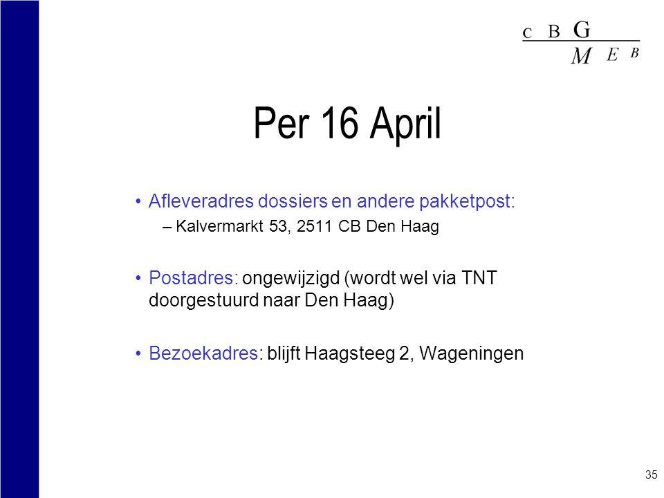 35 Per 16 April Afleveradres dossiers en andere pakketpost: –Kalvermarkt 53, 2511 CB Den Haag Postadres: ongewijzigd (wordt wel via TNT doorgestuurd n