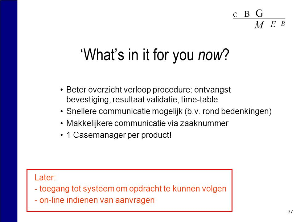 37 'What's in it for you now ? Beter overzicht verloop procedure: ontvangst bevestiging, resultaat validatie, time-table Snellere communicatie mogelij