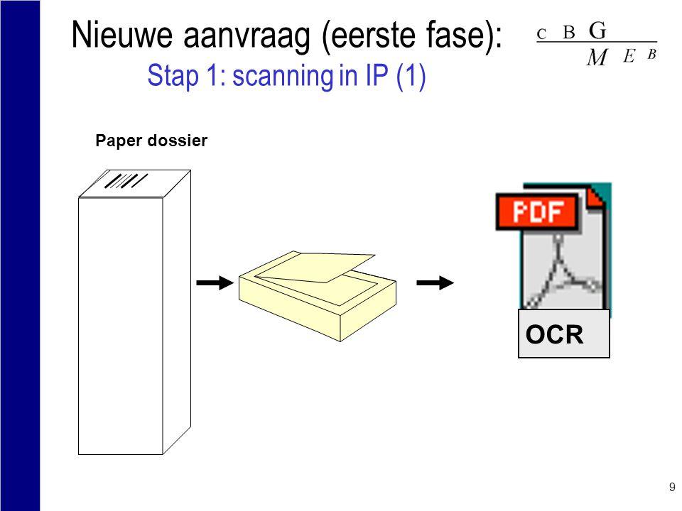 9 Nieuwe aanvraag (eerste fase): Stap 1: scanning in IP (1) Paper dossier OCR
