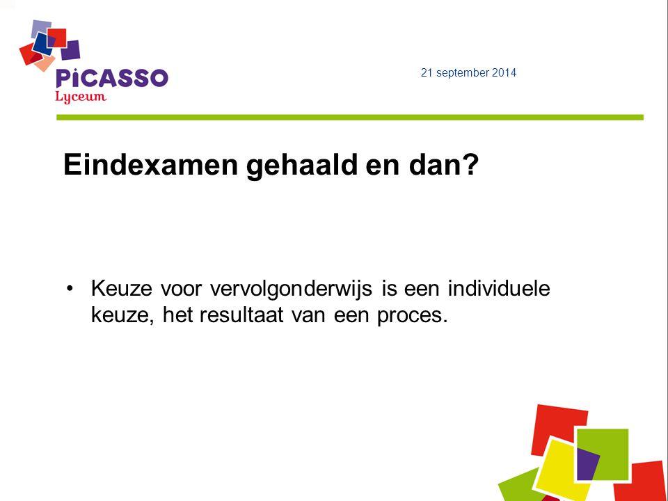 21 september 2014 Eindexamen gehaald en dan? Keuze voor vervolgonderwijs is een individuele keuze, het resultaat van een proces.