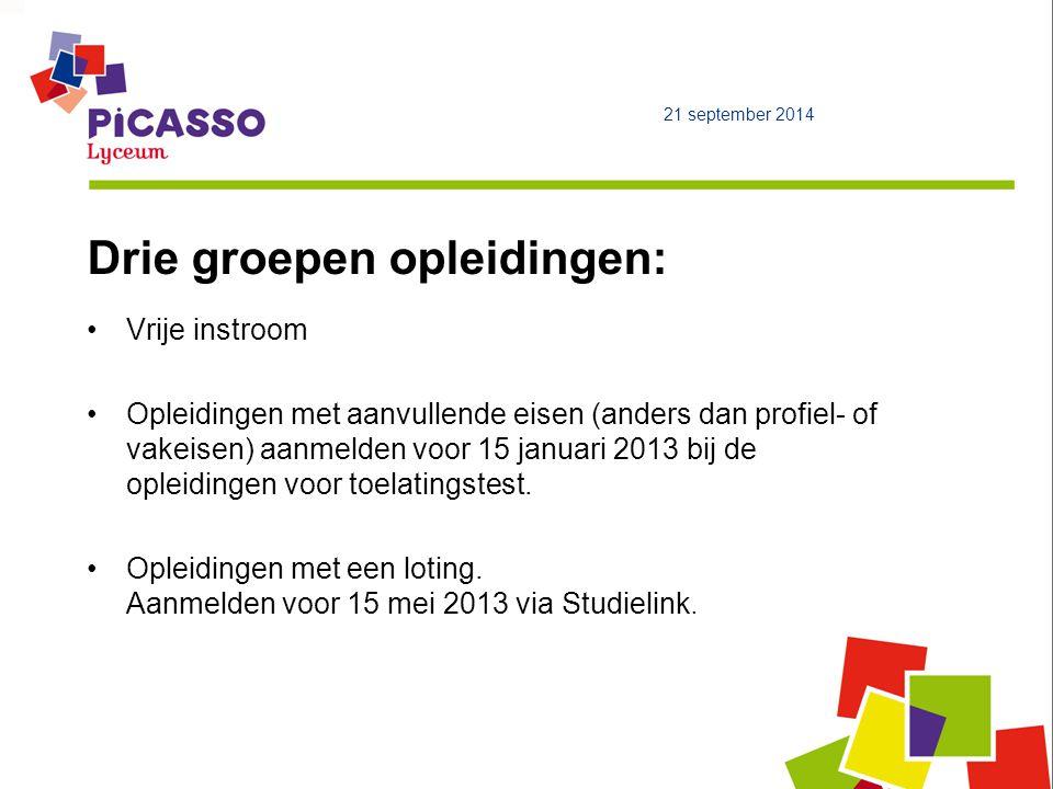 Drie groepen opleidingen: Vrije instroom Opleidingen met aanvullende eisen (anders dan profiel- of vakeisen) aanmelden voor 15 januari 2013 bij de opleidingen voor toelatingstest.