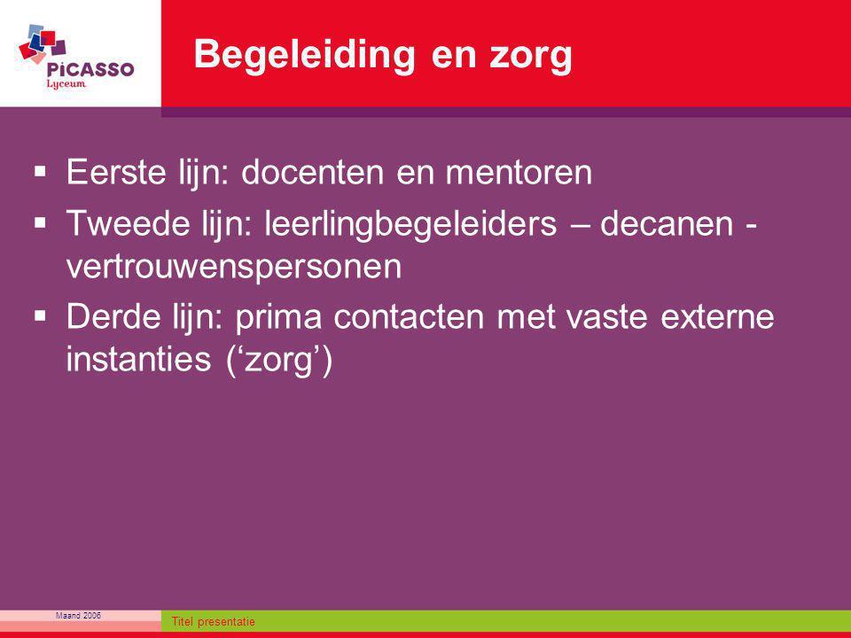 Maand 2006 Titel presentatie Begeleiding en zorg  Eerste lijn: docenten en mentoren  Tweede lijn: leerlingbegeleiders – decanen - vertrouwenspersone