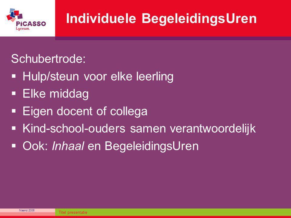 Maand 2006 Titel presentatie Individuele BegeleidingsUren Schubertrode:  Hulp/steun voor elke leerling  Elke middag  Eigen docent of collega  Kind