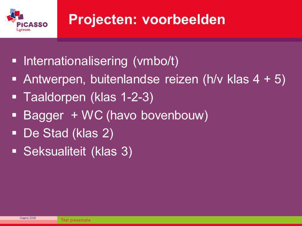 Maand 2006 Titel presentatie Projecten: voorbeelden  Internationalisering (vmbo/t)  Antwerpen, buitenlandse reizen (h/v klas 4 + 5)  Taaldorpen (kl