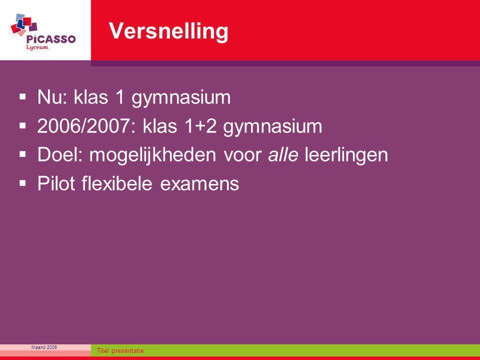 Maand 2006 Titel presentatie Versnelling  Nu: klas 1 gymnasium  2006/2007: klas 1+2 gymnasium  Doel: mogelijkheden voor alle leerlingen  Pilot fle