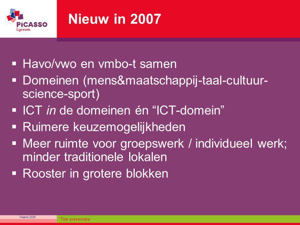 Maand 2006 Titel presentatie Nieuw in 2007  Havo/vwo en vmbo-t samen  Domeinen (mens&maatschappij-taal-cultuur- science-sport)  ICT in de domeinen