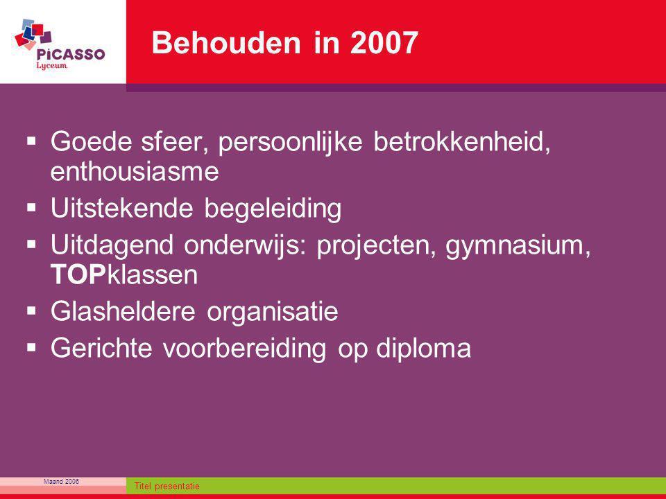 Maand 2006 Titel presentatie Behouden in 2007  Goede sfeer, persoonlijke betrokkenheid, enthousiasme  Uitstekende begeleiding  Uitdagend onderwijs: