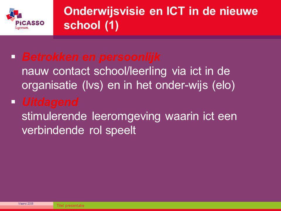 Maand 2006 Titel presentatie Onderwijsvisie en ICT in de nieuwe school (1)  Betrokken en persoonlijk nauw contact school/leerling via ict in de organ