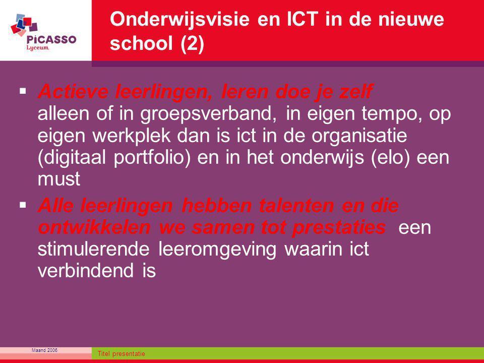 Maand 2006 Titel presentatie Onderwijsvisie en ICT in de nieuwe school (2)  Actieve leerlingen, leren doe je zelf alleen of in groepsverband, in eige