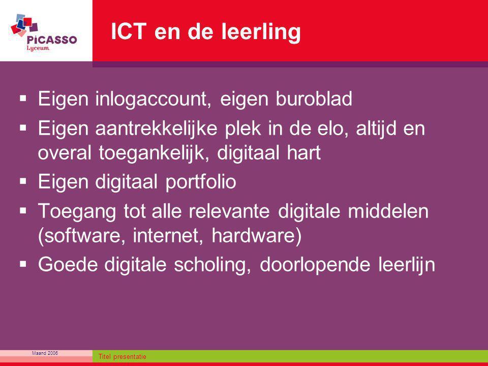 Maand 2006 Titel presentatie ICT en de leerling  Eigen inlogaccount, eigen buroblad  Eigen aantrekkelijke plek in de elo, altijd en overal toegankel