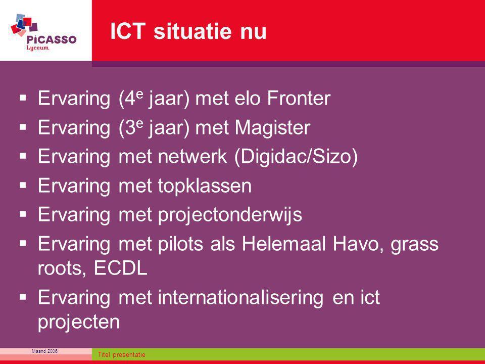 Maand 2006 Titel presentatie ICT situatie nu  Ervaring (4 e jaar) met elo Fronter  Ervaring (3 e jaar) met Magister  Ervaring met netwerk (Digidac/