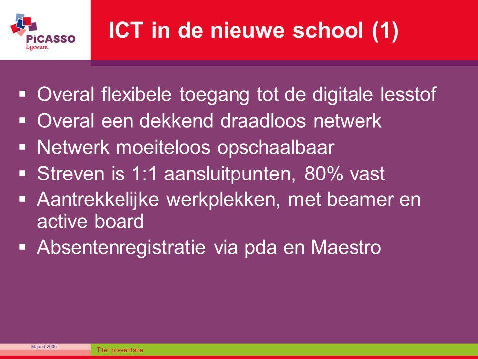 Maand 2006 Titel presentatie ICT in de nieuwe school (1)  Overal flexibele toegang tot de digitale lesstof  Overal een dekkend draadloos netwerk  N