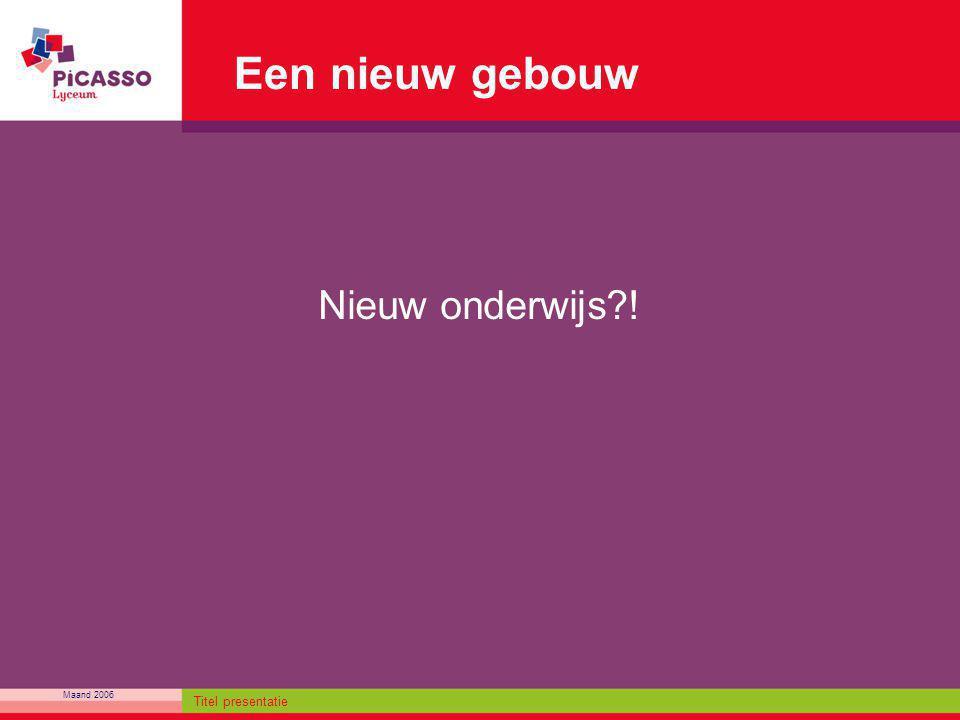Maand 2006 Titel presentatie Een nieuw gebouw Nieuw onderwijs?!