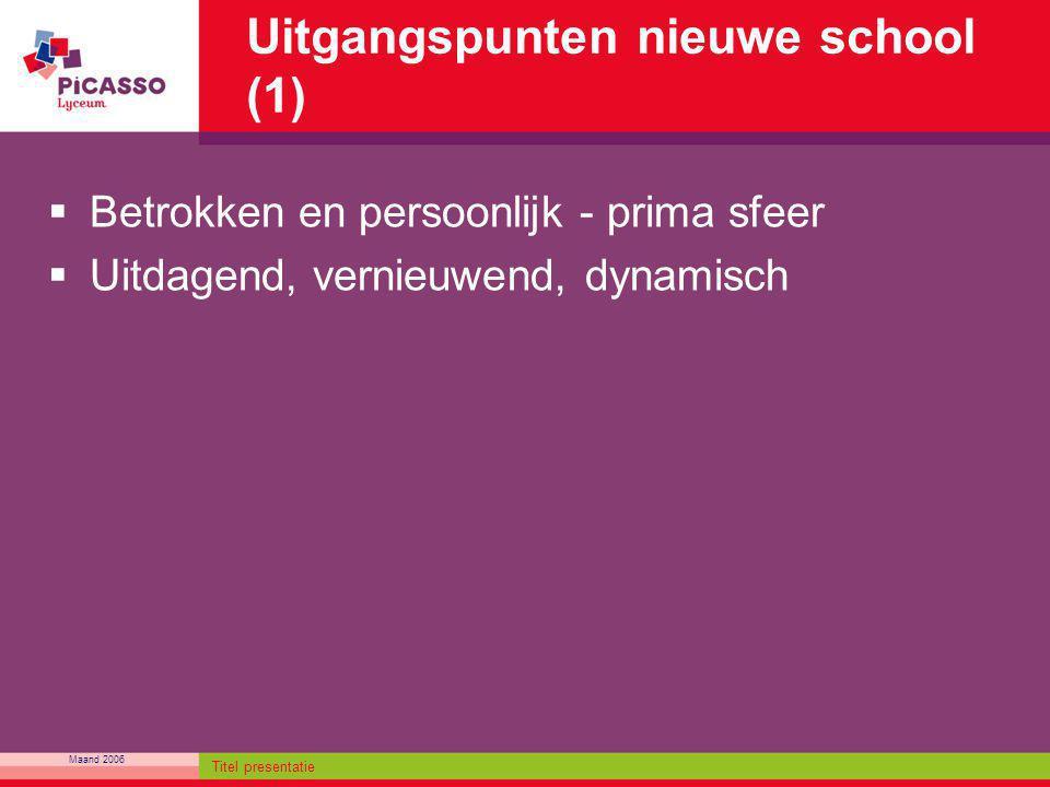 Maand 2006 Titel presentatie Uitgangspunten nieuwe school (1)  Betrokken en persoonlijk - prima sfeer  Uitdagend, vernieuwend, dynamisch