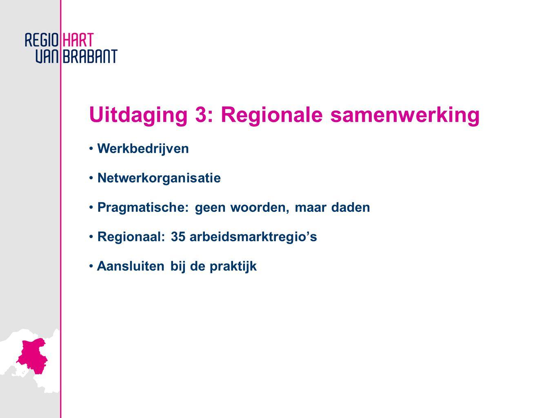 Uitdaging 3: Regionale samenwerking Werkbedrijven Netwerkorganisatie Pragmatische: geen woorden, maar daden Regionaal: 35 arbeidsmarktregio's Aansluiten bij de praktijk