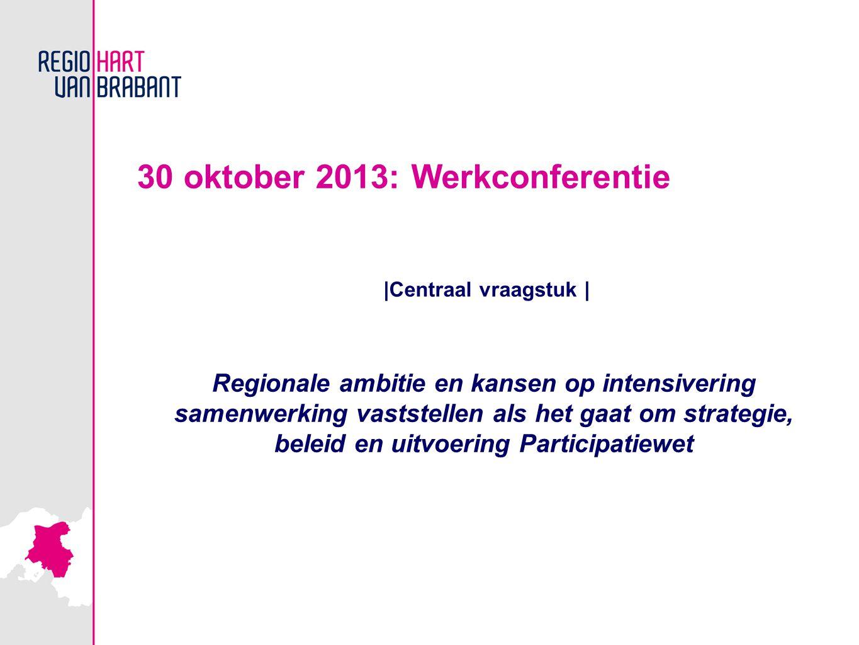 30 oktober 2013: Werkconferentie |Centraal vraagstuk | Regionale ambitie en kansen op intensivering samenwerking vaststellen als het gaat om strategie, beleid en uitvoering Participatiewet