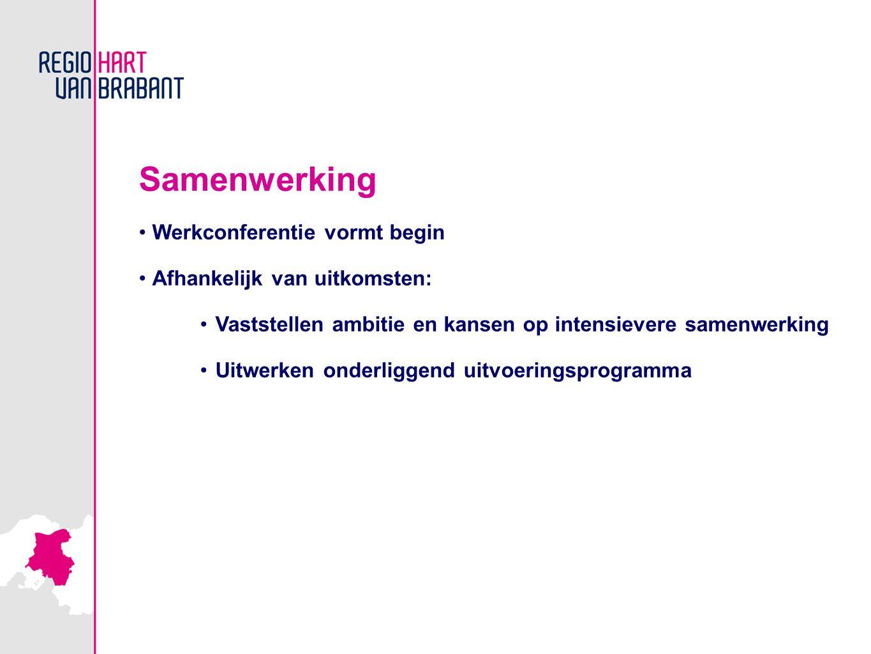 Samenwerking Werkconferentie vormt begin Afhankelijk van uitkomsten: Vaststellen ambitie en kansen op intensievere samenwerking Uitwerken onderliggend uitvoeringsprogramma