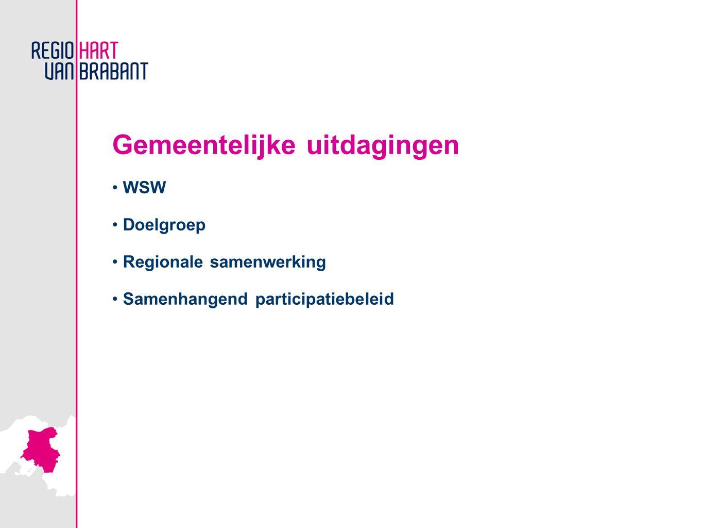 Gemeentelijke uitdagingen WSW Doelgroep Regionale samenwerking Samenhangend participatiebeleid
