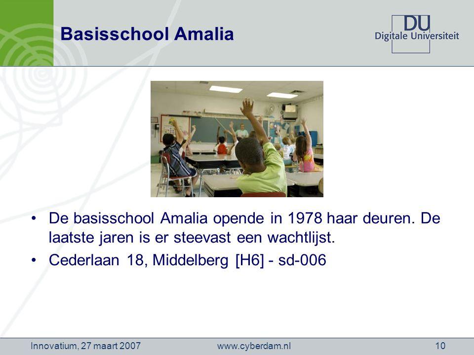 www.cyberdam.nlInnovatium, 27 maart 200710 Basisschool Amalia De basisschool Amalia opende in 1978 haar deuren.