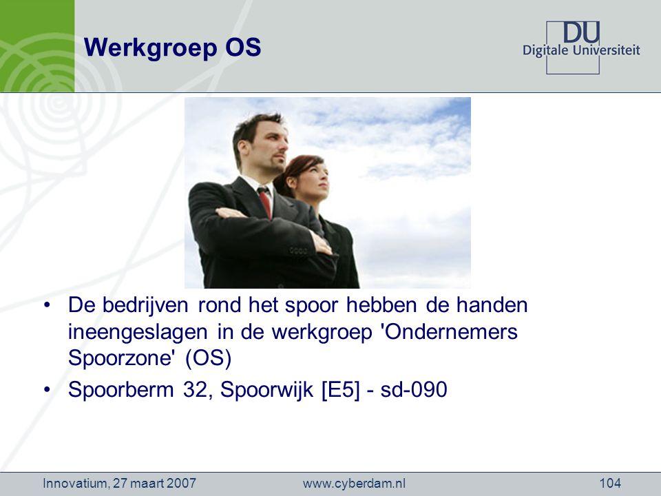 www.cyberdam.nlInnovatium, 27 maart 2007104 Werkgroep OS De bedrijven rond het spoor hebben de handen ineengeslagen in de werkgroep Ondernemers Spoorzone (OS) Spoorberm 32, Spoorwijk [E5] - sd-090