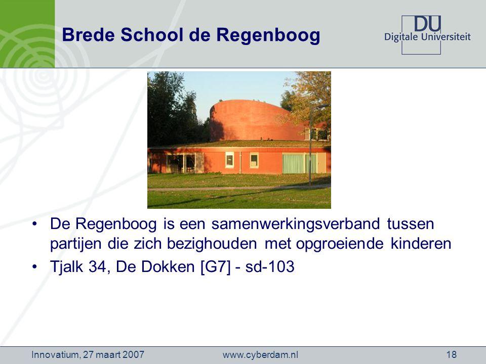 www.cyberdam.nlInnovatium, 27 maart 200718 Brede School de Regenboog De Regenboog is een samenwerkingsverband tussen partijen die zich bezighouden met opgroeiende kinderen Tjalk 34, De Dokken [G7] - sd-103