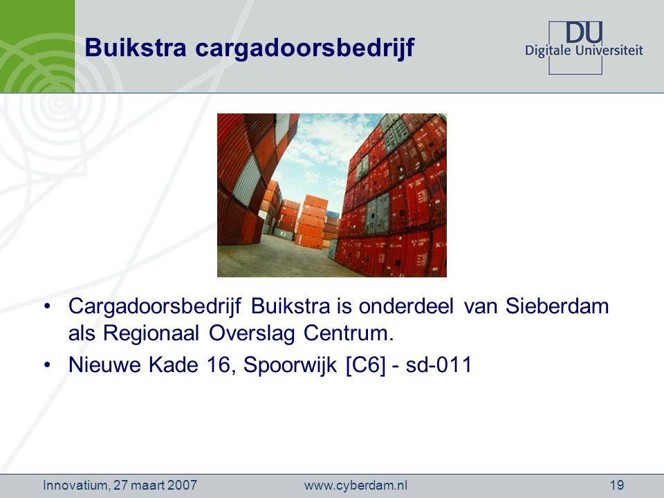 www.cyberdam.nlInnovatium, 27 maart 200719 Buikstra cargadoorsbedrijf Cargadoorsbedrijf Buikstra is onderdeel van Sieberdam als Regionaal Overslag Centrum.