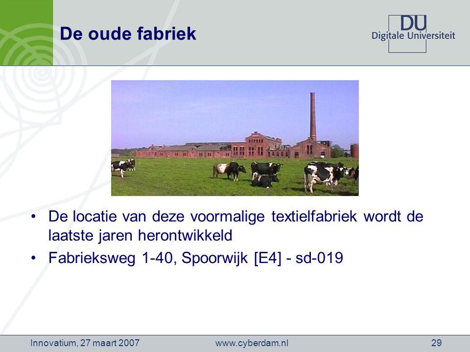 www.cyberdam.nlInnovatium, 27 maart 200729 De oude fabriek De locatie van deze voormalige textielfabriek wordt de laatste jaren herontwikkeld Fabrieksweg 1-40, Spoorwijk [E4] - sd-019