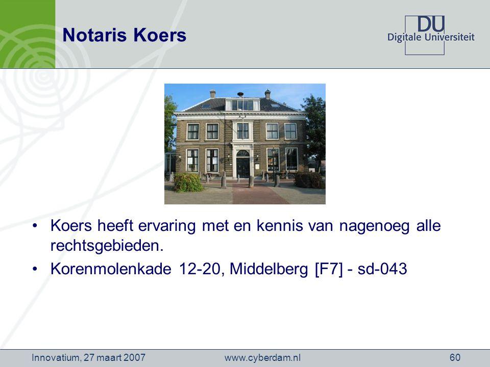 www.cyberdam.nlInnovatium, 27 maart 200760 Notaris Koers Koers heeft ervaring met en kennis van nagenoeg alle rechtsgebieden.