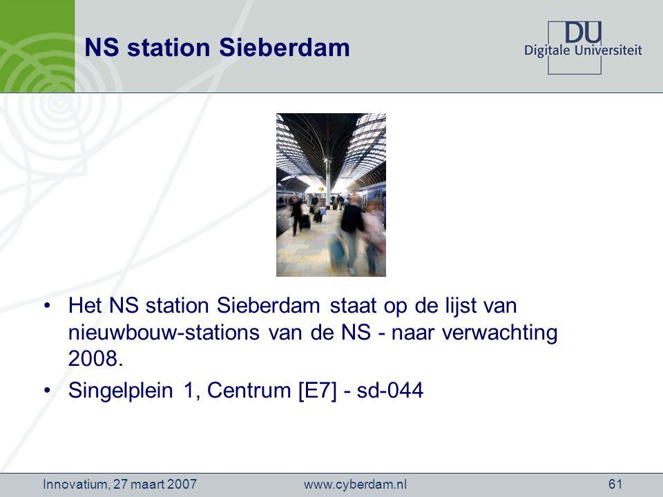 www.cyberdam.nlInnovatium, 27 maart 200761 NS station Sieberdam Het NS station Sieberdam staat op de lijst van nieuwbouw-stations van de NS - naar verwachting 2008.