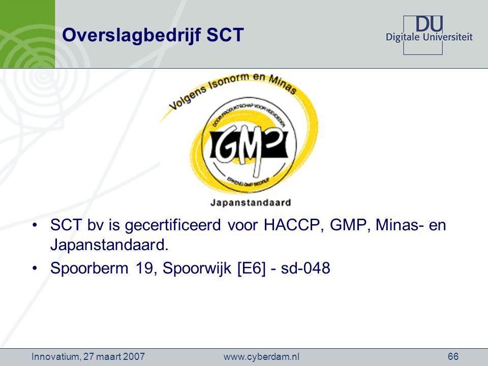 www.cyberdam.nlInnovatium, 27 maart 200766 Overslagbedrijf SCT SCT bv is gecertificeerd voor HACCP, GMP, Minas- en Japanstandaard.