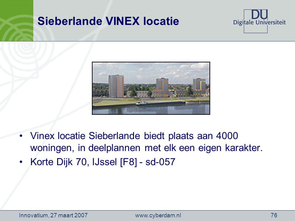 www.cyberdam.nlInnovatium, 27 maart 200776 Sieberlande VINEX locatie Vinex locatie Sieberlande biedt plaats aan 4000 woningen, in deelplannen met elk een eigen karakter.