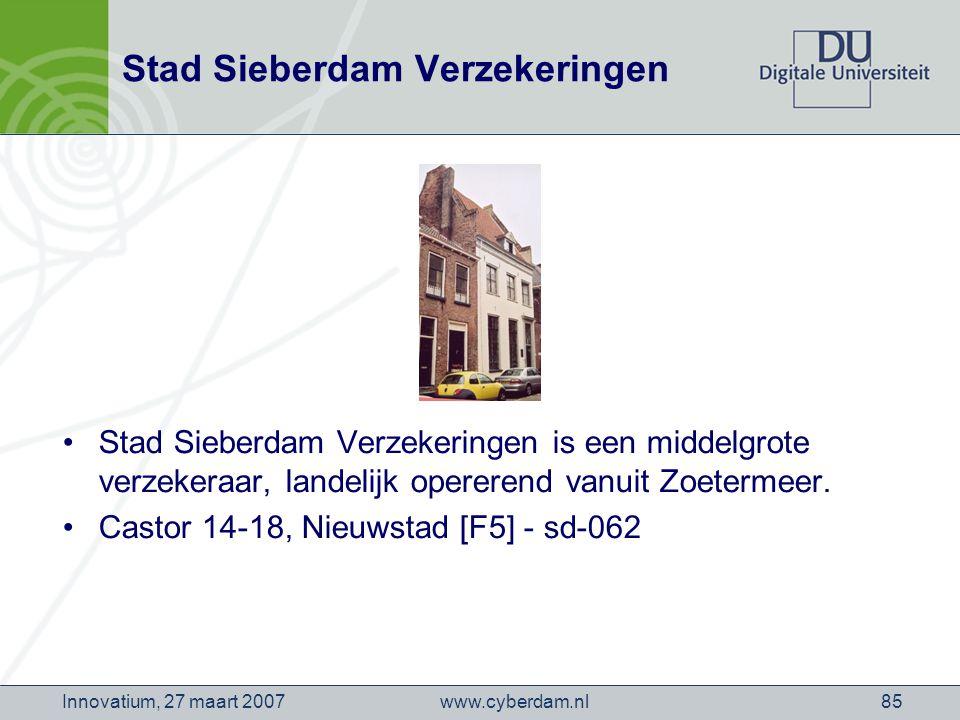 www.cyberdam.nlInnovatium, 27 maart 200785 Stad Sieberdam Verzekeringen Stad Sieberdam Verzekeringen is een middelgrote verzekeraar, landelijk opererend vanuit Zoetermeer.