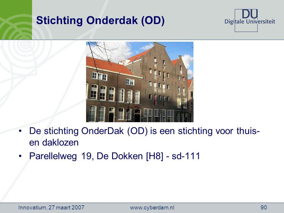 www.cyberdam.nlInnovatium, 27 maart 200790 Stichting Onderdak (OD) De stichting OnderDak (OD) is een stichting voor thuis- en daklozen Parellelweg 19, De Dokken [H8] - sd-111