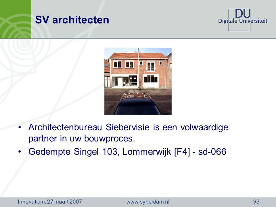 www.cyberdam.nlInnovatium, 27 maart 200793 SV architecten Architectenbureau Siebervisie is een volwaardige partner in uw bouwproces.