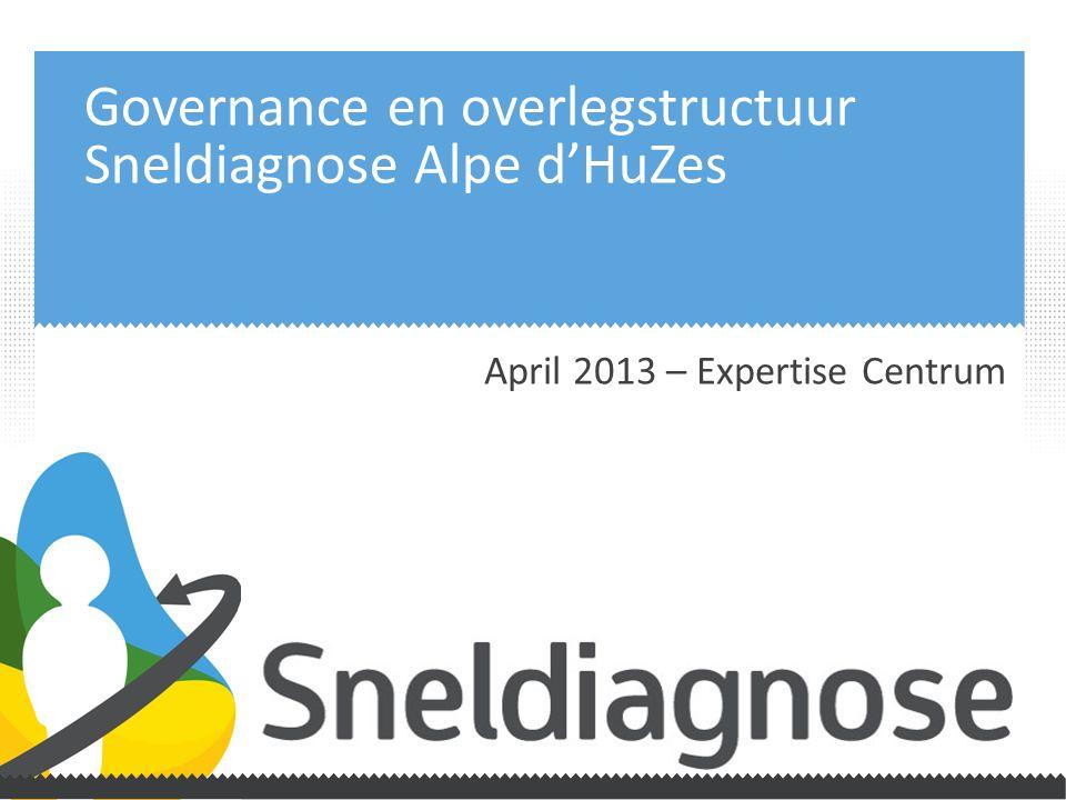 Governance en overlegstructuur Sneldiagnose Alpe d'HuZes April 2013 – Expertise Centrum
