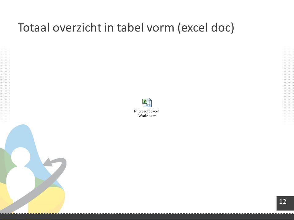 12 Totaal overzicht in tabel vorm (excel doc)