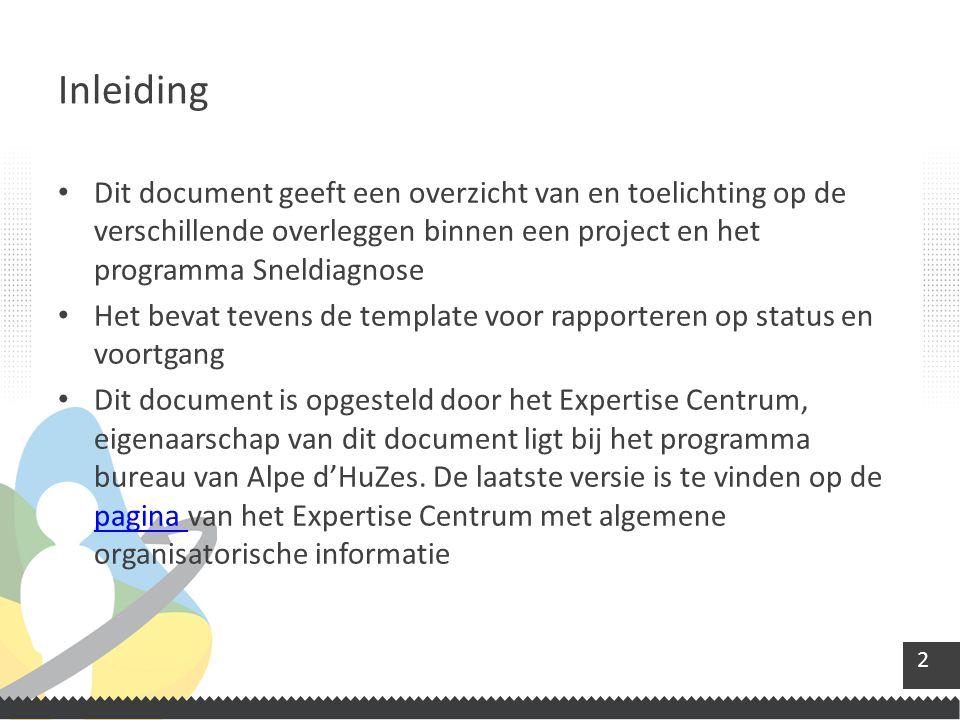 2 Dit document geeft een overzicht van en toelichting op de verschillende overleggen binnen een project en het programma Sneldiagnose Het bevat tevens