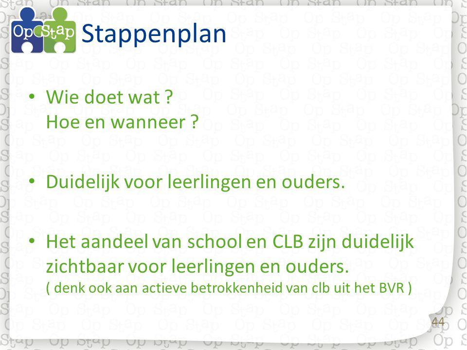 44 Stappenplan Wie doet wat ? Hoe en wanneer ? Duidelijk voor leerlingen en ouders. Het aandeel van school en CLB zijn duidelijk zichtbaar voor leerli