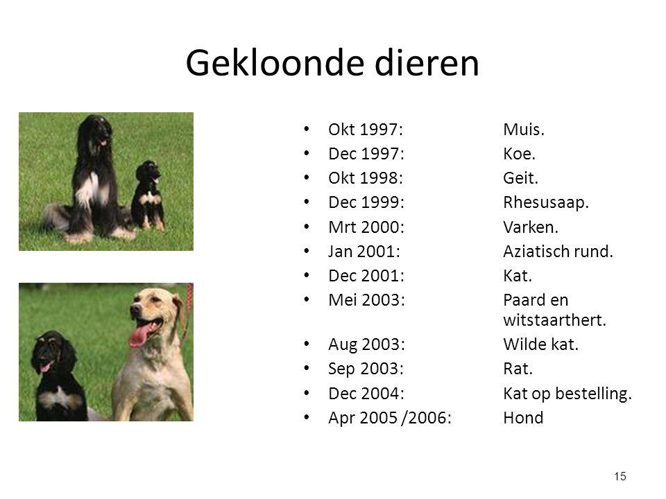 15 Gekloonde dieren Okt 1997: Muis. Dec 1997: Koe. Okt 1998: Geit. Dec 1999: Rhesusaap. Mrt 2000: Varken. Jan 2001:Aziatisch rund. Dec 2001:Kat. Mei 2