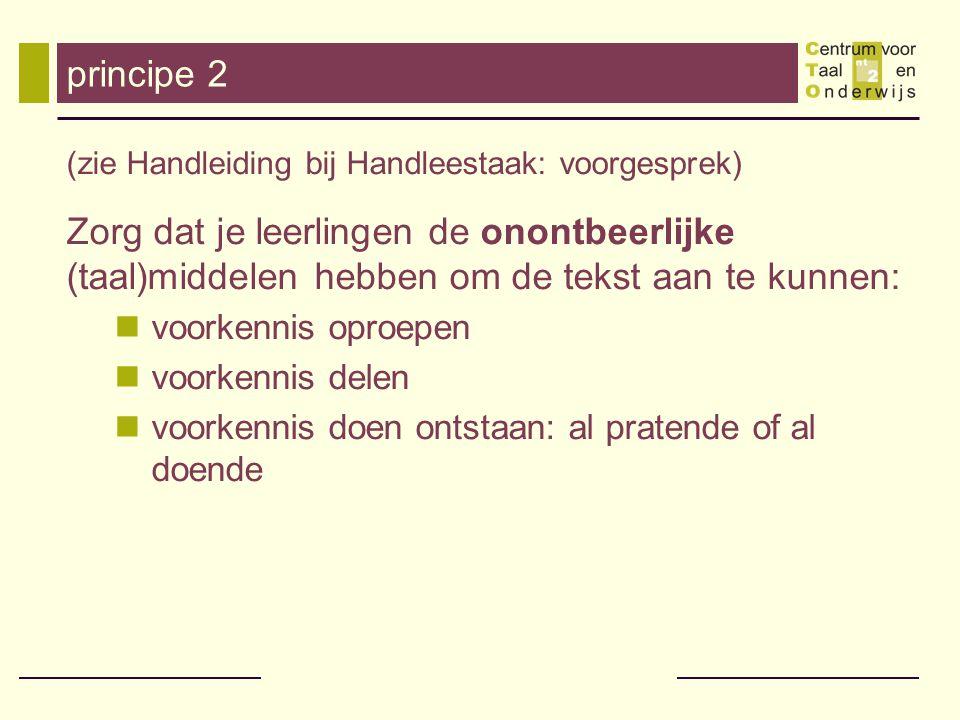 principe 2 (zie Handleiding bij Handleestaak: voorgesprek) Zorg dat je leerlingen de onontbeerlijke (taal)middelen hebben om de tekst aan te kunnen: v