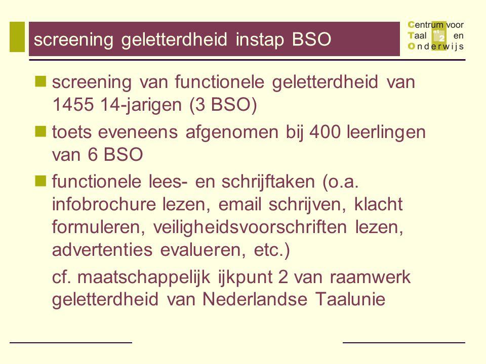 screening geletterdheid instap BSO screening van functionele geletterdheid van 1455 14-jarigen (3 BSO) toets eveneens afgenomen bij 400 leerlingen van