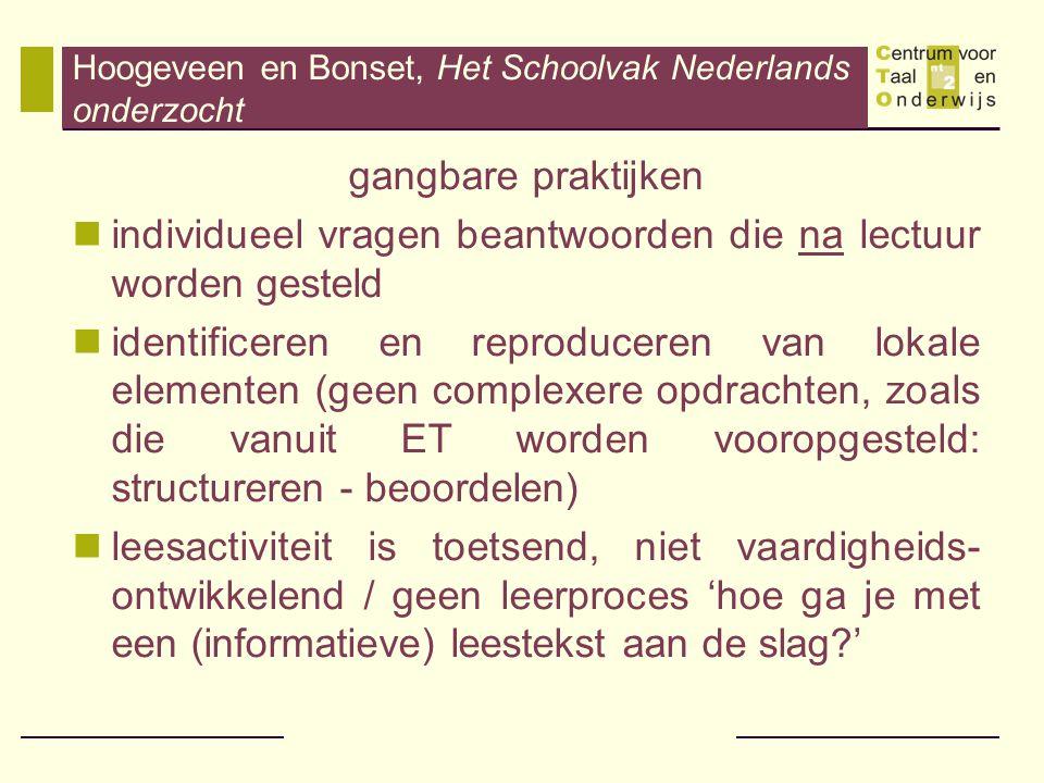 Hoogeveen en Bonset, Het Schoolvak Nederlands onderzocht gangbare praktijken individueel vragen beantwoorden die na lectuur worden gesteld identificer