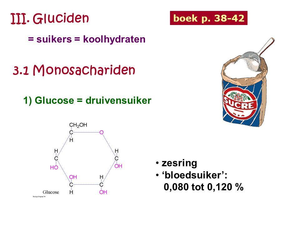 III. Gluciden = suikers = koolhydraten boek p. 38-42 3.1 Monosachariden 1) Glucose = druivensuiker zesring 'bloedsuiker': 0,080 tot 0,120 %