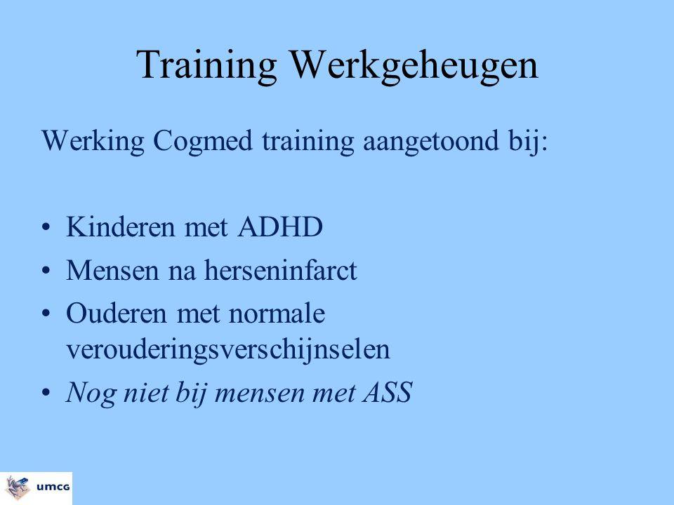 Training Werkgeheugen Werking Cogmed training aangetoond bij: Kinderen met ADHD Mensen na herseninfarct Ouderen met normale verouderingsverschijnselen