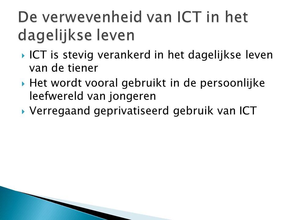  ICT is stevig verankerd in het dagelijkse leven van de tiener  Het wordt vooral gebruikt in de persoonlijke leefwereld van jongeren  Verregaand geprivatiseerd gebruik van ICT