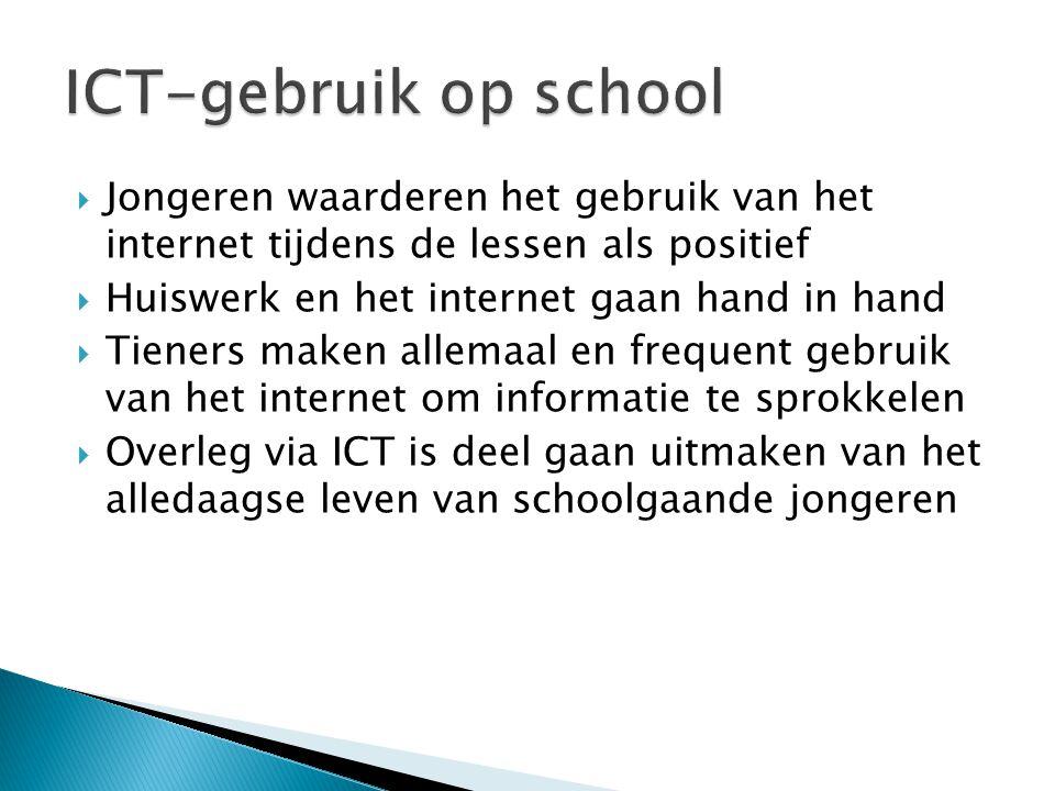  Jongeren waarderen het gebruik van het internet tijdens de lessen als positief  Huiswerk en het internet gaan hand in hand  Tieners maken allemaal en frequent gebruik van het internet om informatie te sprokkelen  Overleg via ICT is deel gaan uitmaken van het alledaagse leven van schoolgaande jongeren
