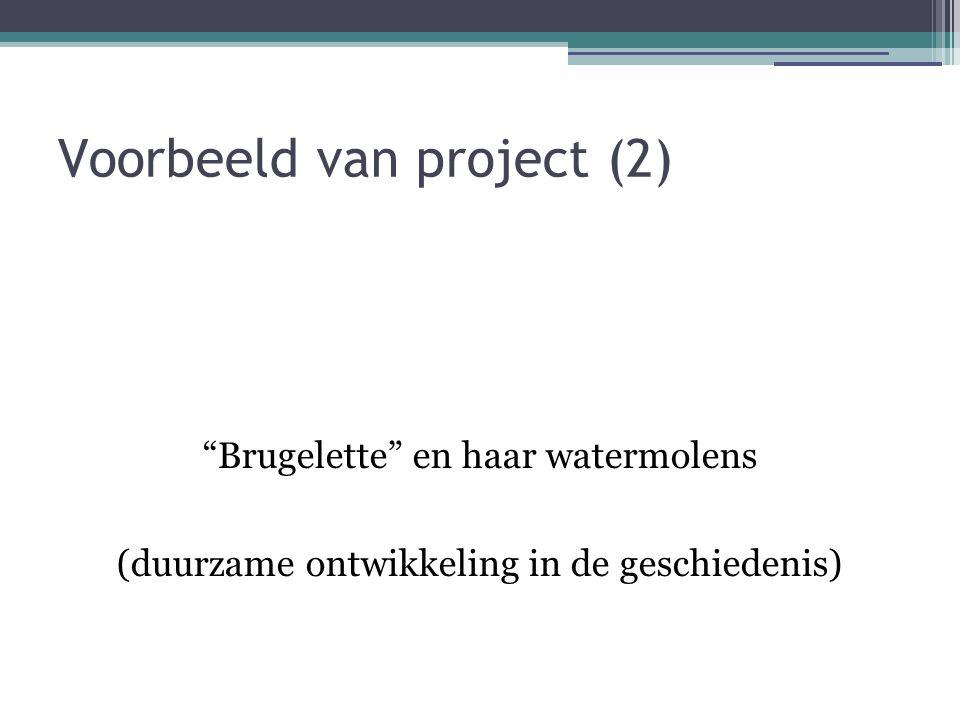 Voorbeeld van project (2) Brugelette en haar watermolens (duurzame ontwikkeling in de geschiedenis)