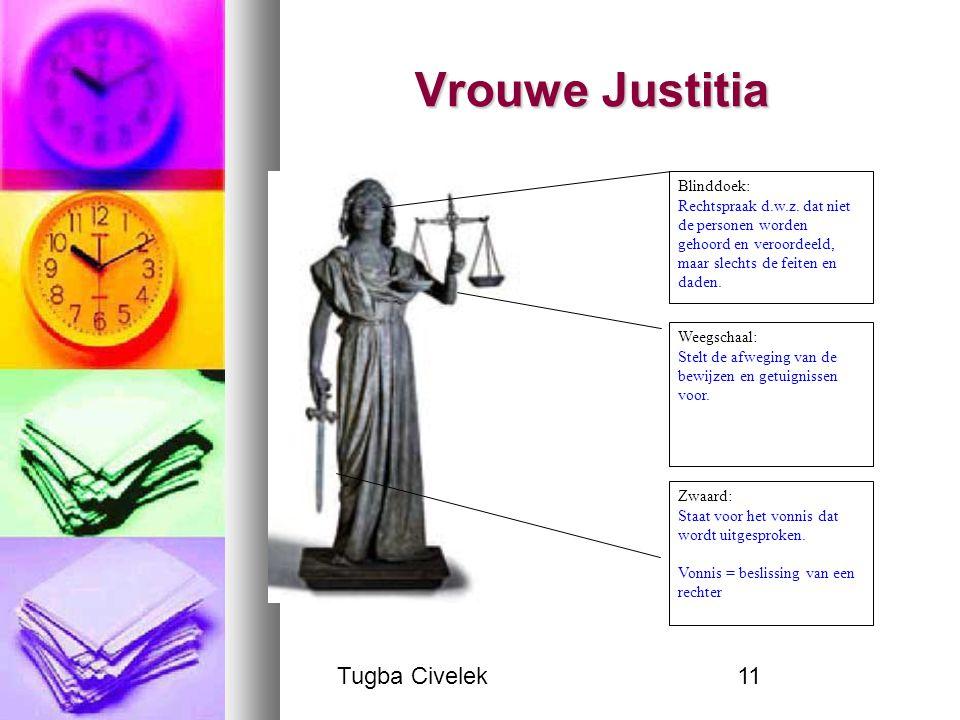 Tugba Civelek11 Vrouwe Justitia Blinddoek: Rechtspraak d.w.z. dat niet de personen worden gehoord en veroordeeld, maar slechts de feiten en daden. Wee